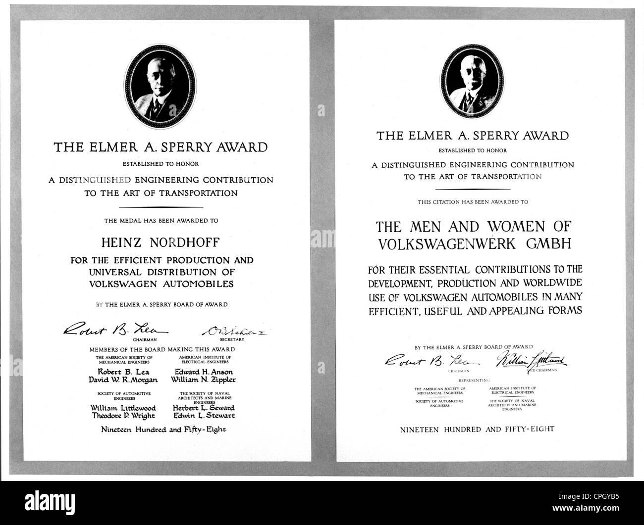 Nordhoff, Heinrich Dr., 6.1.1899 - 21.4.1968, German industrialist, director of Volkswagen (VW), certificate, 'Elmer - Stock Image