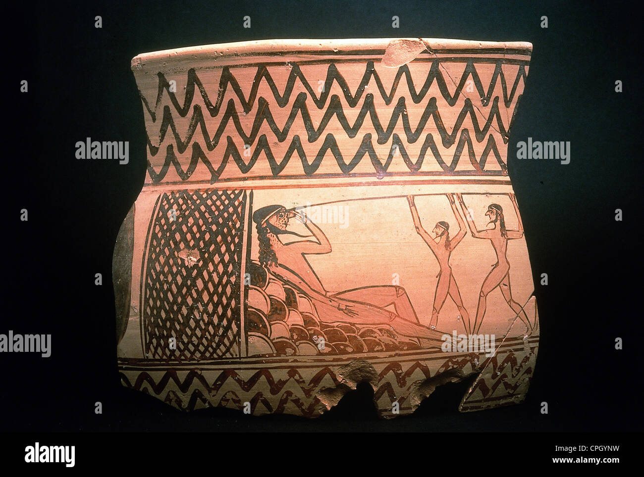 fine arts, Greece, ceramic, Archaic period (700 - 480 BC), fragment of a krater (Ancient Greek vase), circa 670 - Stock Image
