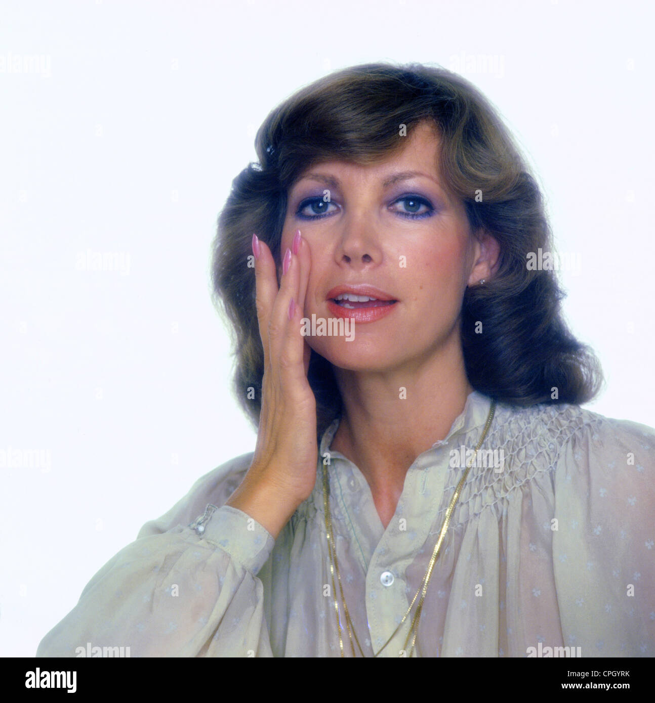 Schuermann, Petra, 15.9.1935 - 13.1.2010, German actress, TV presenter, portrait, 1970s, Additional-Rights-Clearances - Stock Image