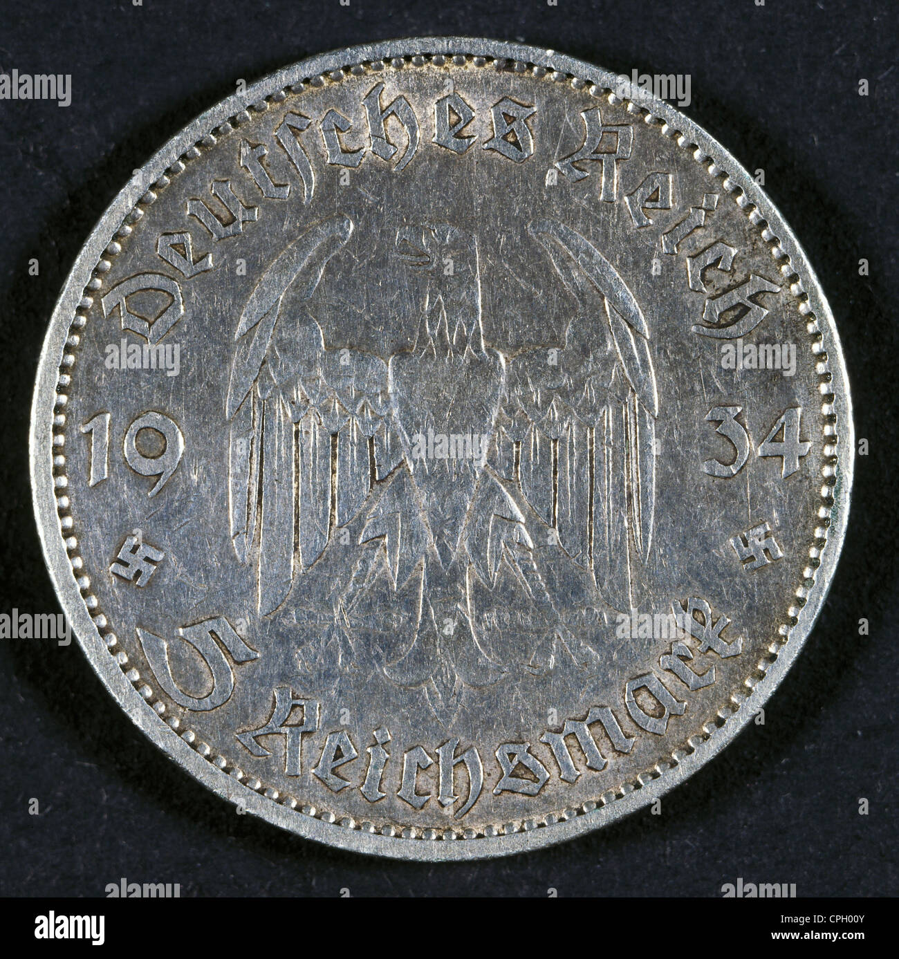 money / finance, coins, Germany, 5 Reichmark, obverse, 1934, Additional-Rights-Clearences-Not Available Stock Photo