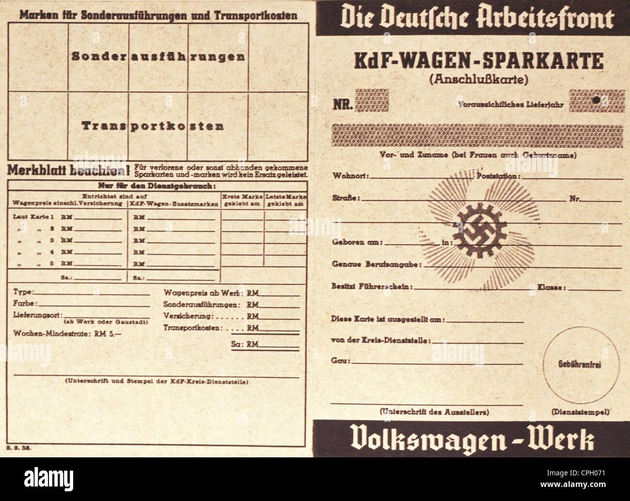 National Socialim / Nazism, organisations, 'Strength Through Joy', saving card for the 'KdF car', - Stock Image