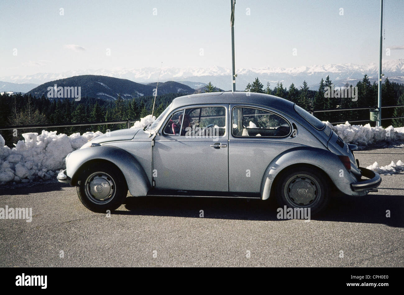 transport / transportation, car, vehicle variants, Volkswagen, VW Beetle, silver version on parking space at Nigerstrasse, - Stock Image