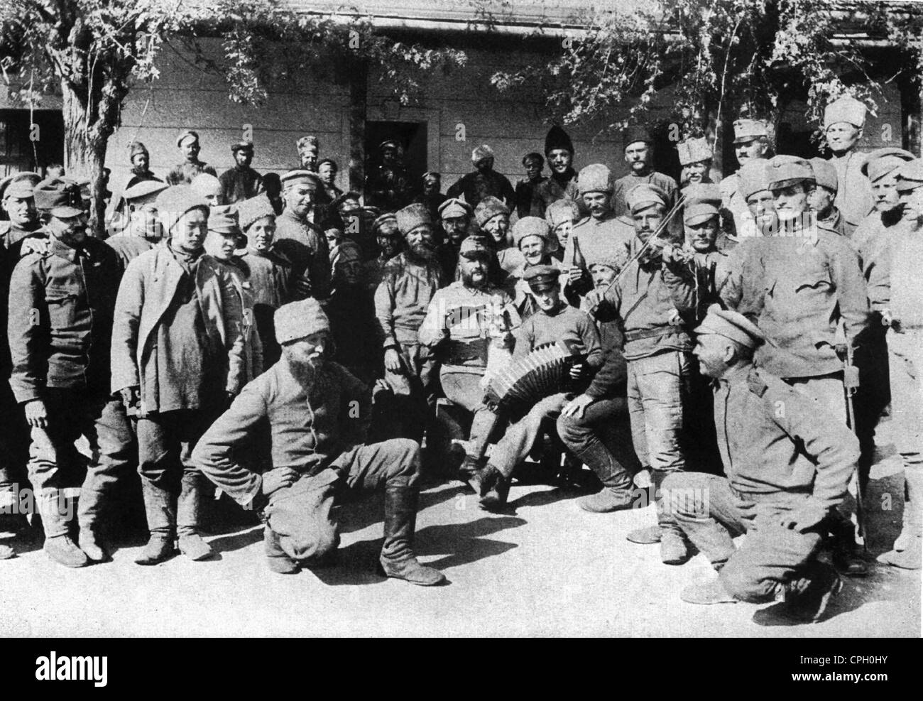first world war /WWI/, prisoner of war, Russian prisoners in collective point near to Munkacz, Hungary, 1915, Additional - Stock Image