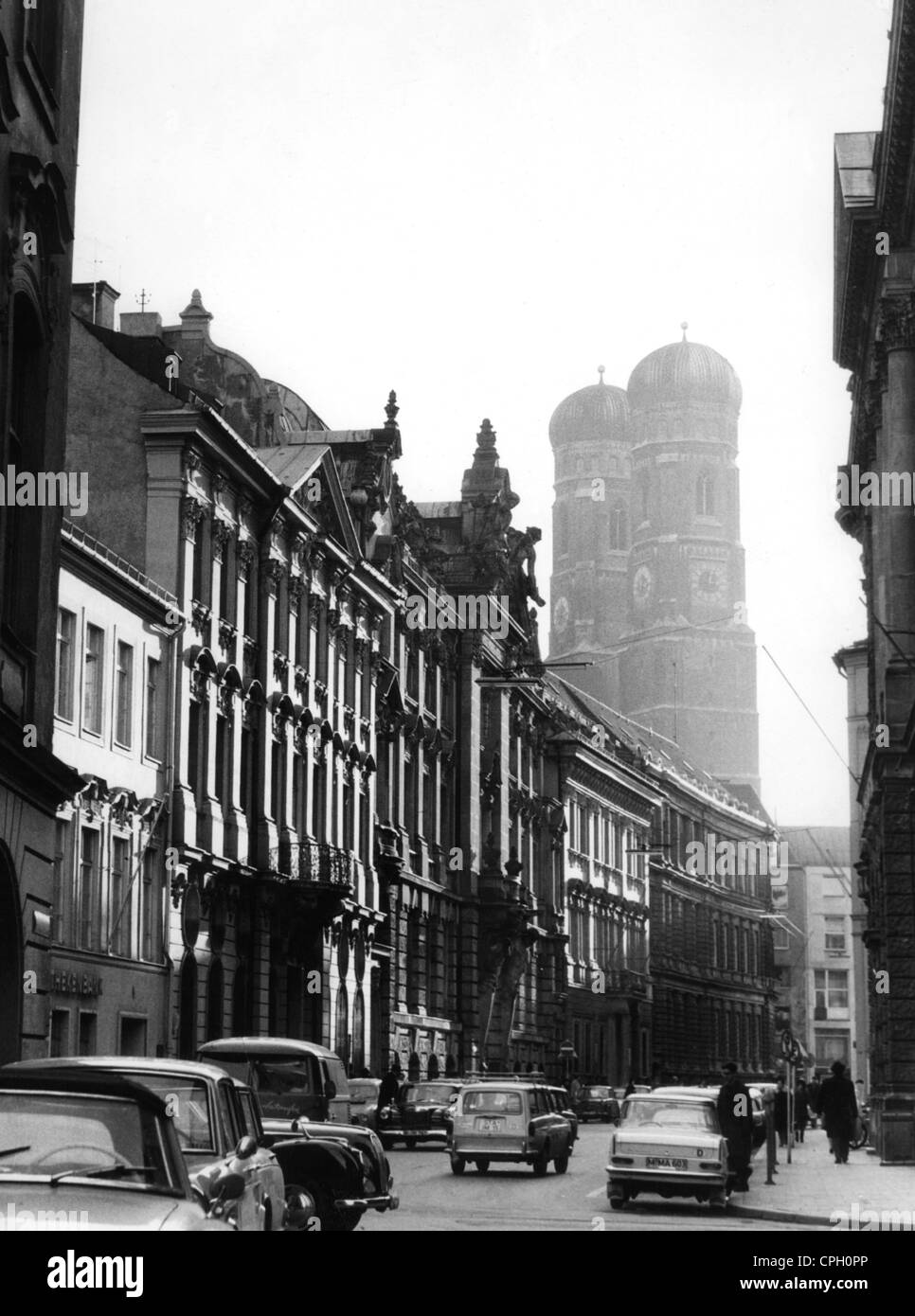 geography / travel, Germany, Munich, street, streets, Kardinal-Faulhaber-Strasse, view into the Pacellistraße, 1960s, Stock Photo