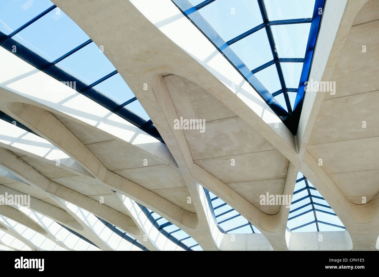 modern architectural detail, Lyon St Exupery - Stock Image