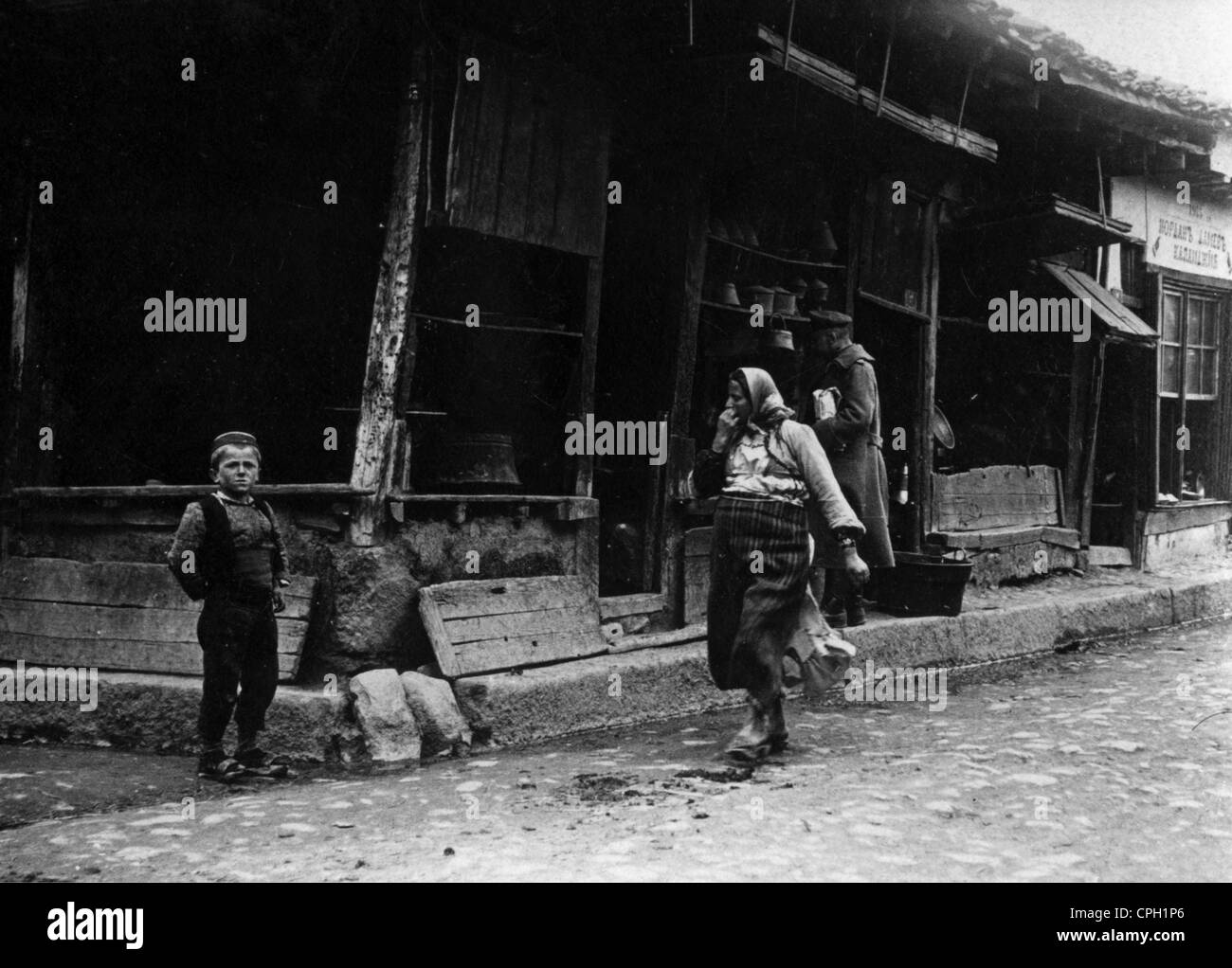 geography / travel, Macedonia, woman and boy in front of a shop in Prilep, 21.3.1917, Additional-Rights-Clearences Stock Photo