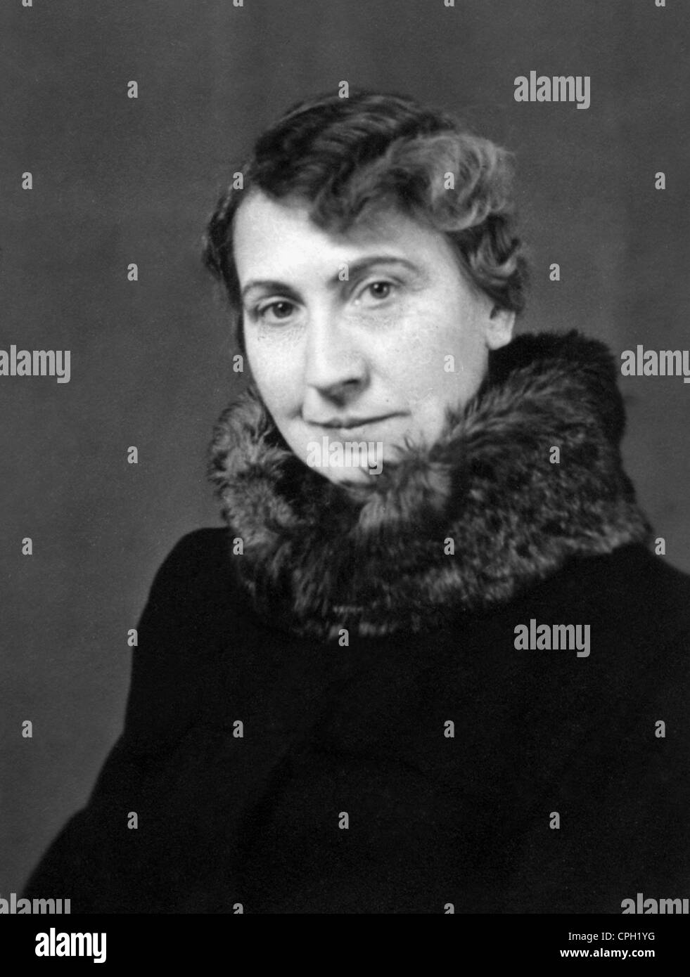 people, women, portraits, woman with fur collar, 1951, 1950s, 50s, 20th century, historic, historical, - Stock Image