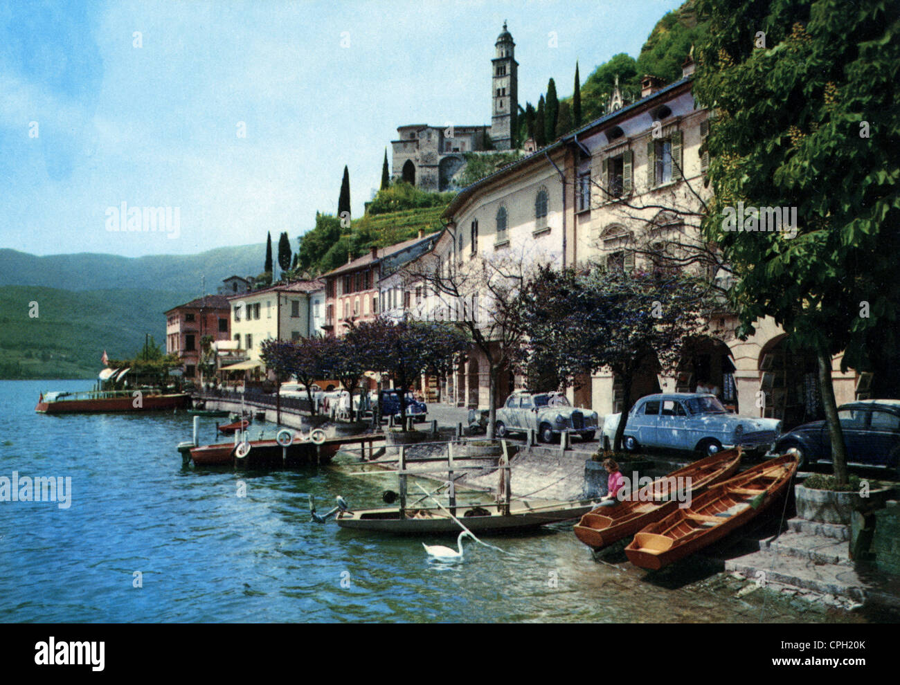 geography / travel, Switzerland, Morcote, townscape with Lake of Lugano, 1950s, Additional-Rights-Clearences-NA - Stock Image