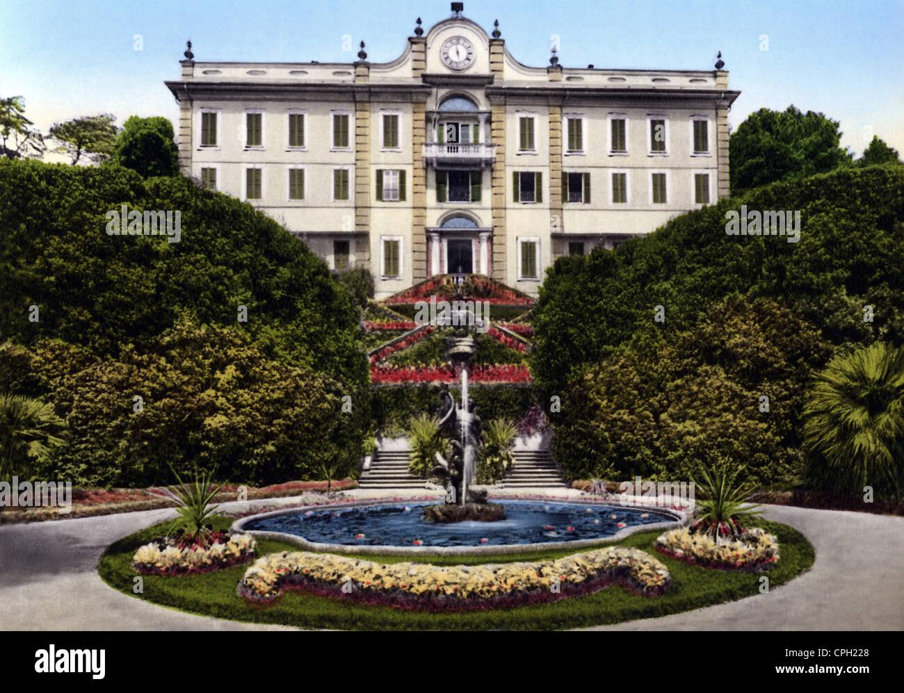 architecture, buildings, Villa Carlotta, Lago di Como, picture postcard, Italy, 1950s, , Additional-Rights-Clearences - Stock Image
