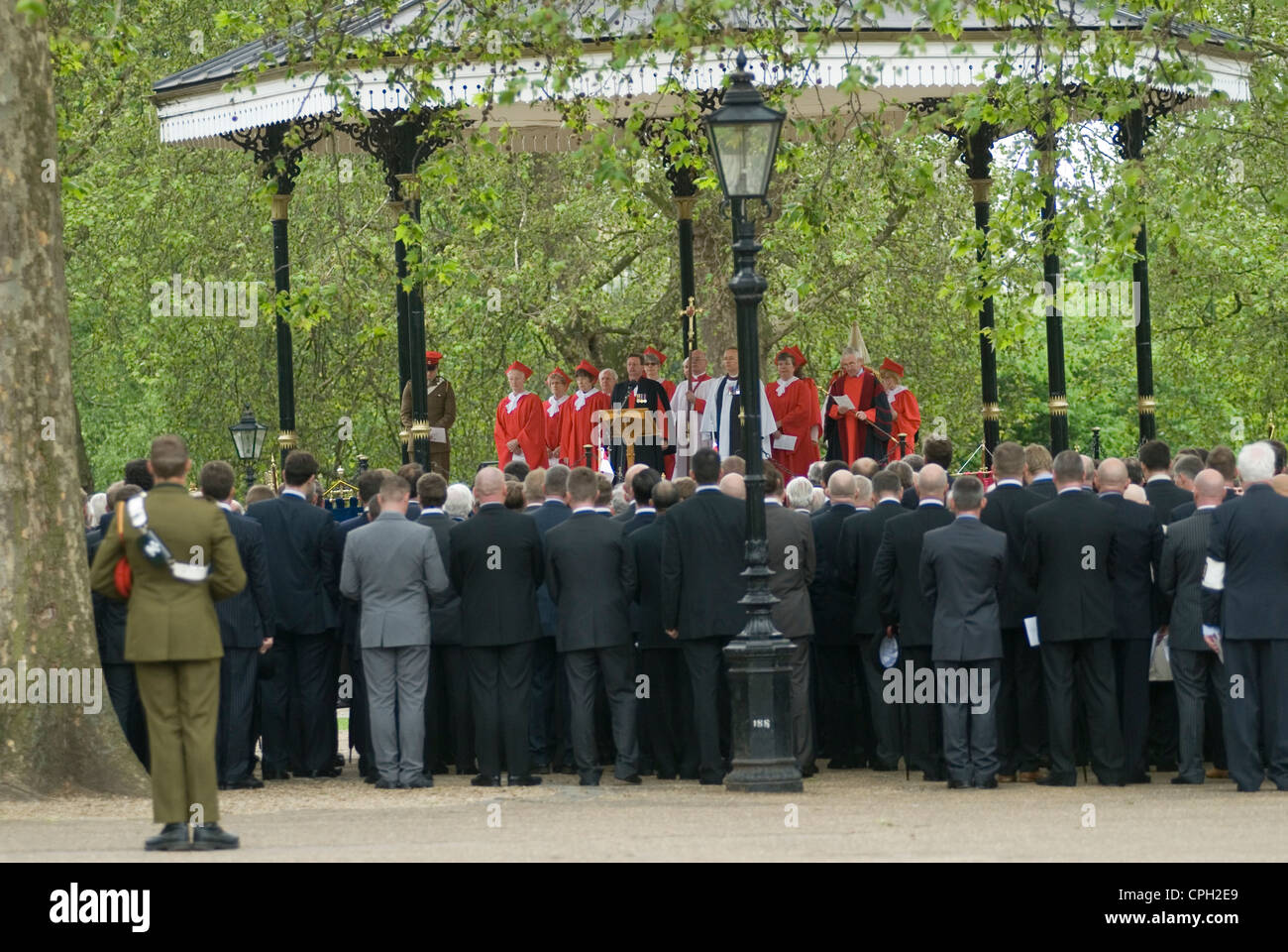 Combined Cavalry Old Comrades Association and parade Hyde Park London UK. The service at the Hyde Park Band Stand. - Stock Image