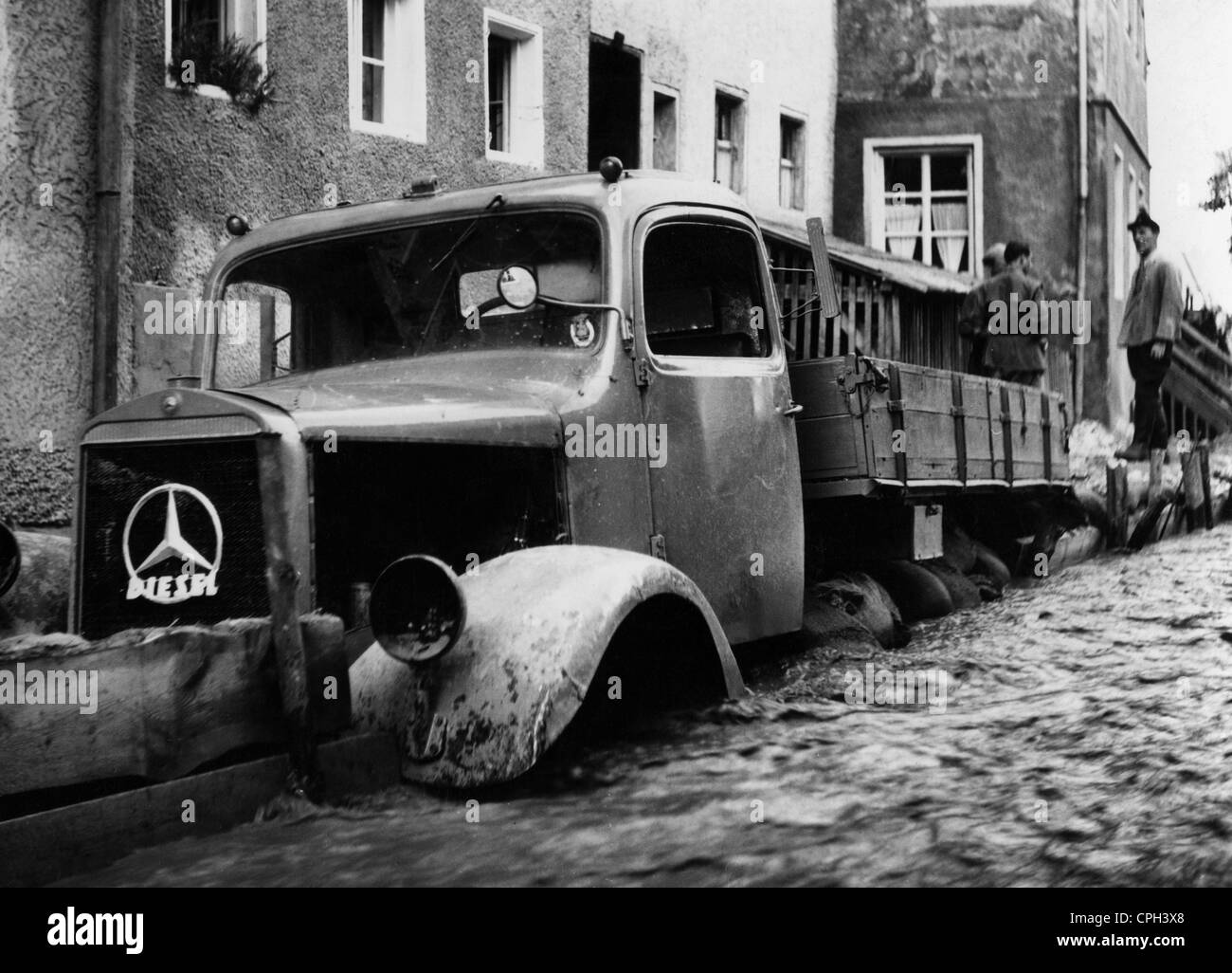 disasters, floods, West Germany, 1950s, , Additional-Rights-Clearences-NA - Stock Image