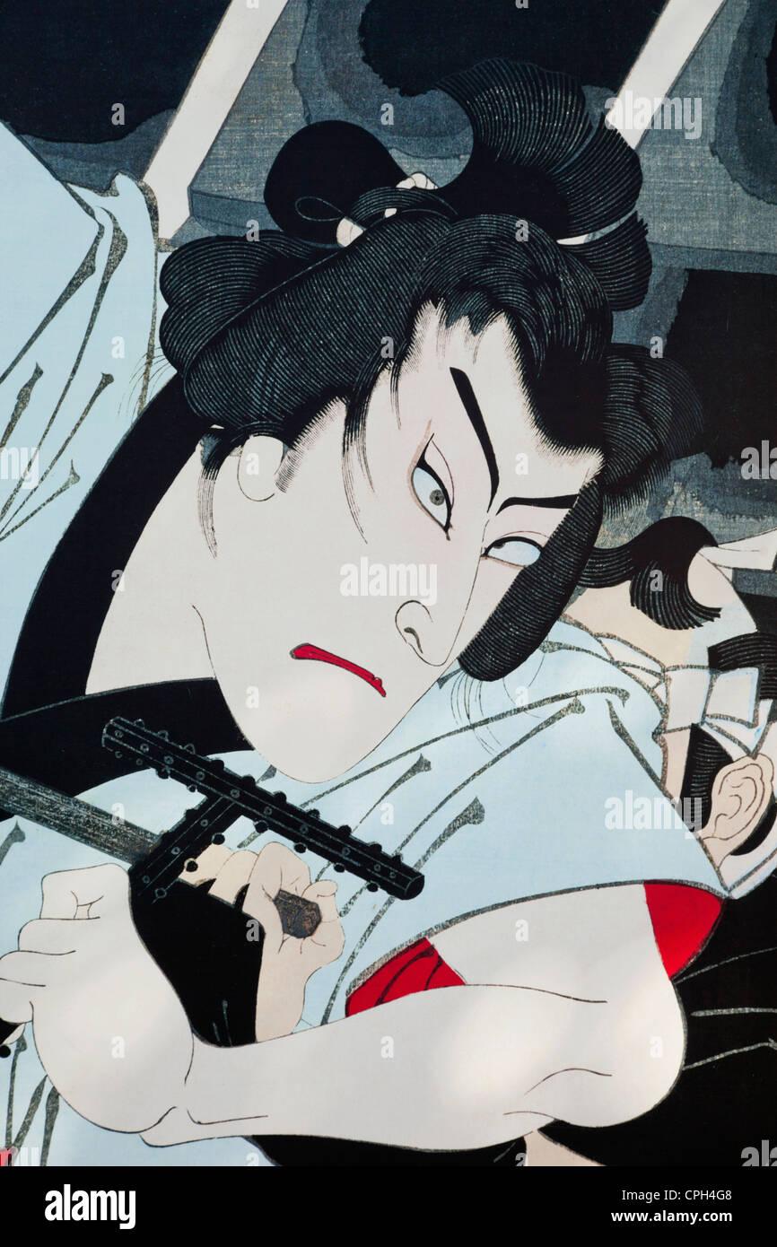 Asia, Japan, Tokyo, Ginza, Kabuki, Ukiyo-e, Street Scene, Street Scene - Stock Image