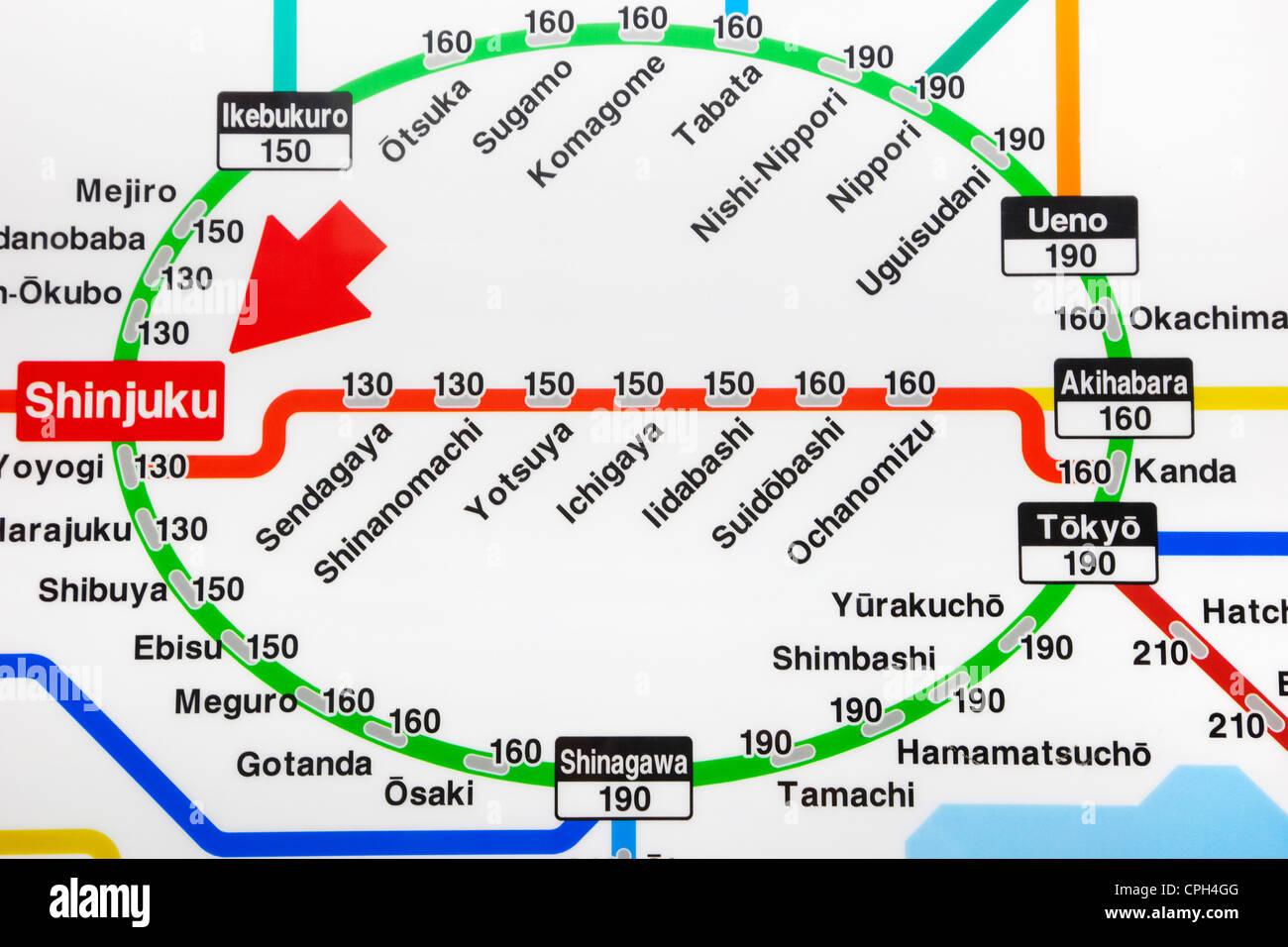 Tokyo Jr Subway Map.Asia Japan Tokyo Train Map Tokyo Railway Map Jr Japan Railways Stock Photo Alamy