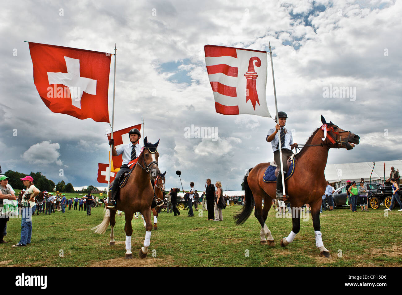 flags, flag of Switzerland, Freiberger, canton Jura, equestrianism, equestrian sports, Swiss horse breeding, cold - Stock Image