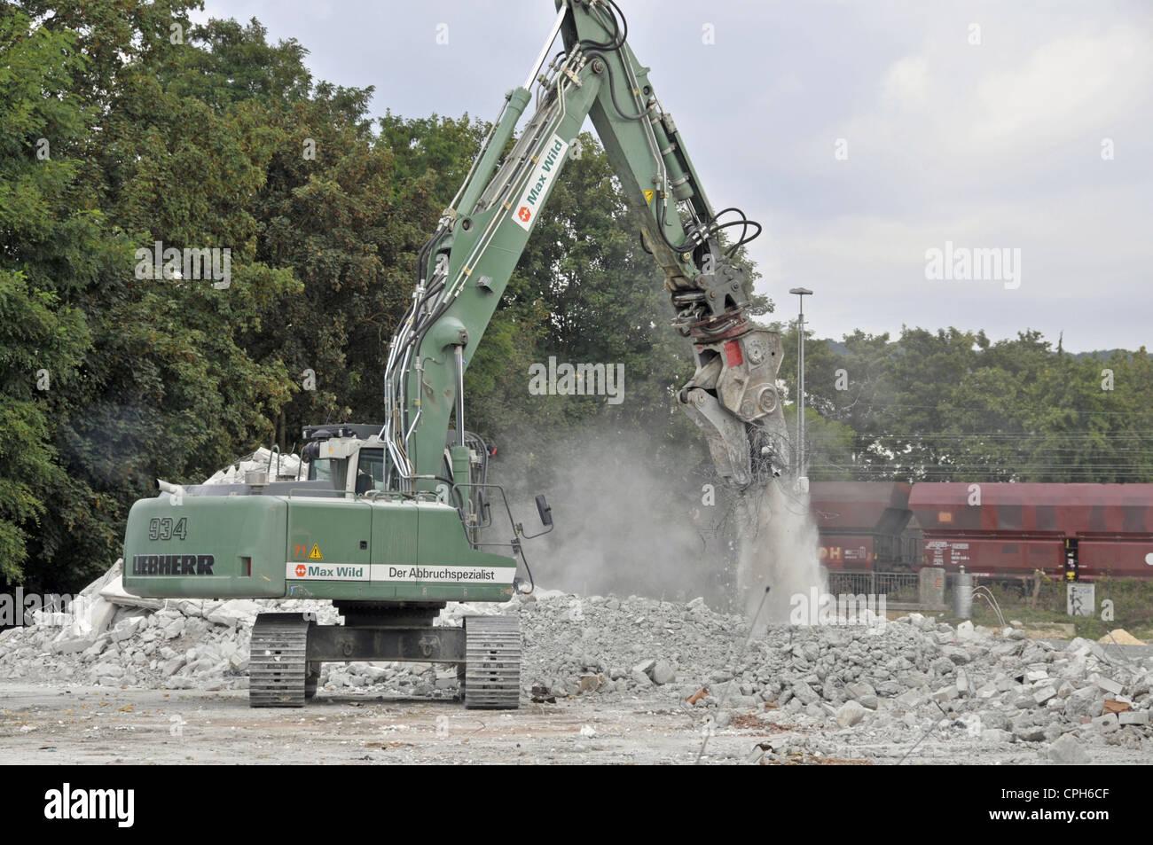 Demolition, tear off, pull down, Baden, excavator, construction, build, dismantling, Germany, tear, Europe, building, - Stock Image