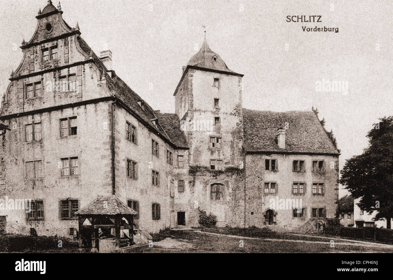 geography / travel, Germany, castles, Schlitz Castle, exterior view, front castle, picture postcard, publisher Otto - Stock Image