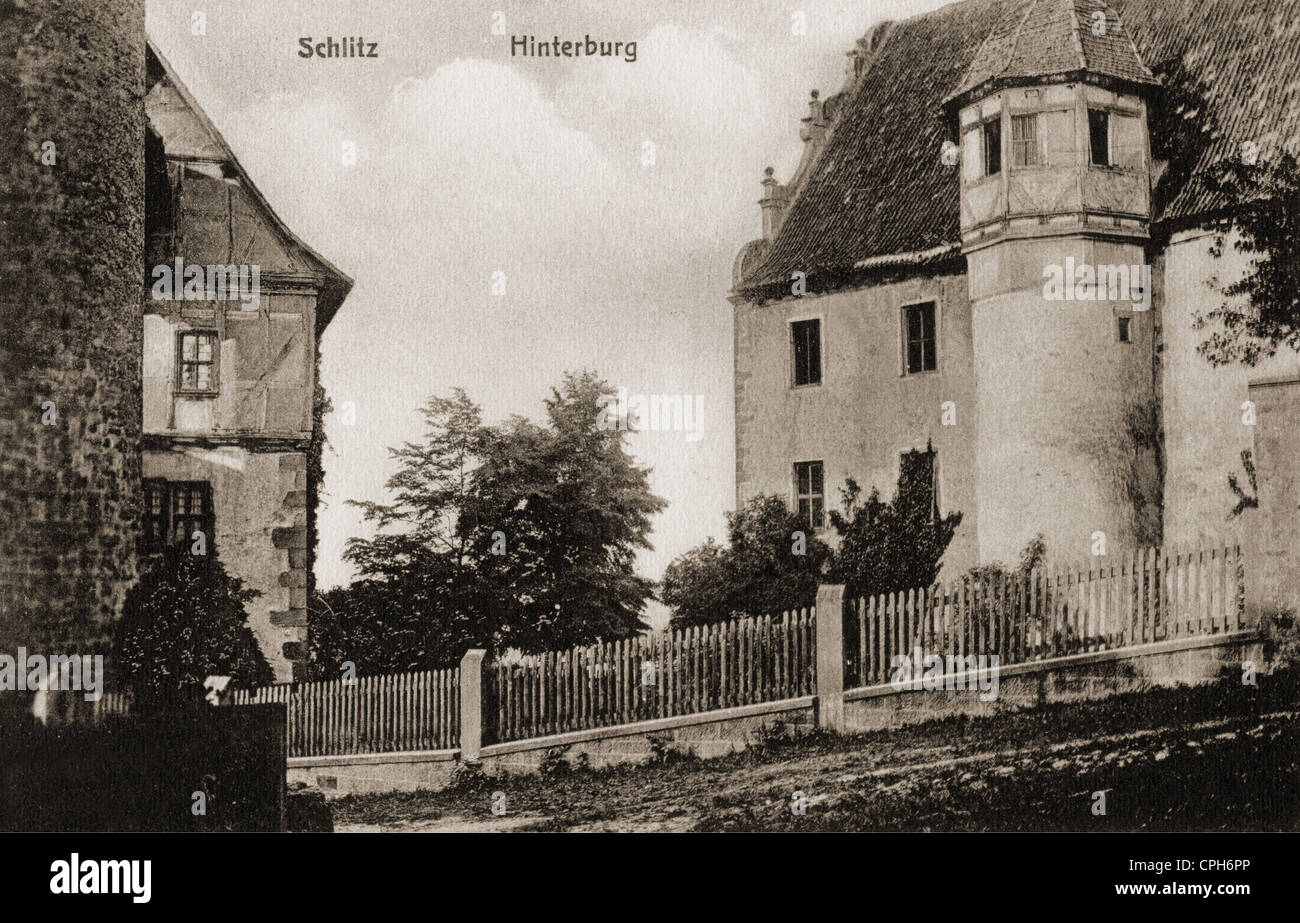 geography / travel, Germany, castles, Schlitz Castle, exterior view, back castle, picture postcard, publisher Otto - Stock Image