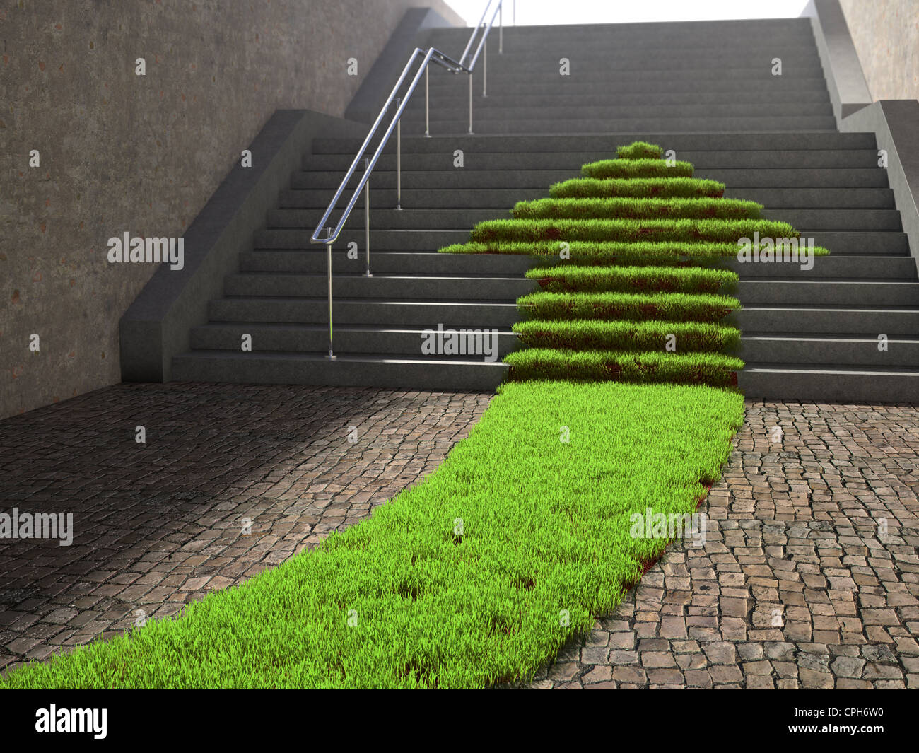 Urban scene with arrow shaped grass patch growing on a stairway - Stock Image