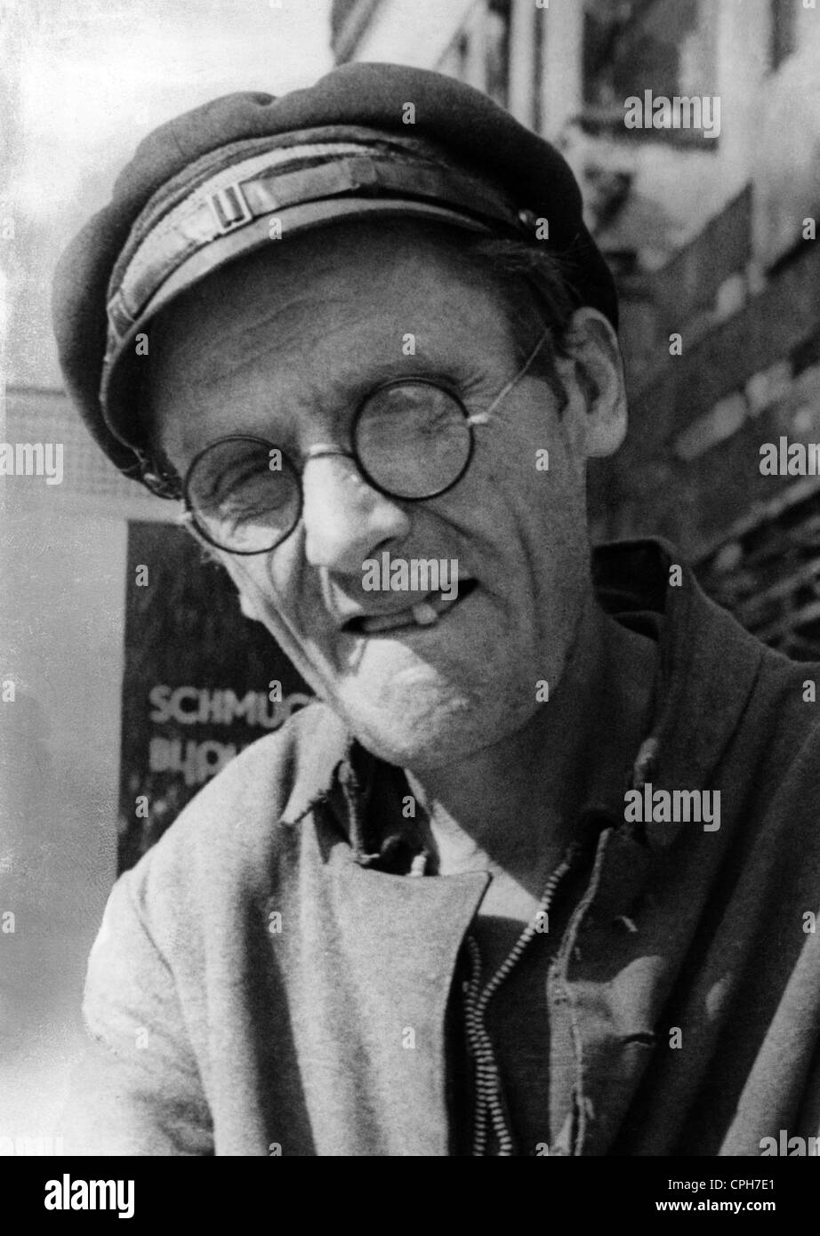 post war period, misery and hardship, Germany, poverty, fifty years old, sick of tuberculosis disabled person George - Stock Image