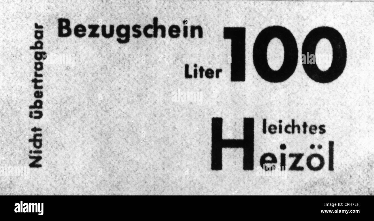 post war period, misery and hardship, Germany, fuel shortage, coupon for 100 litre light heating oil, 1946, Additional - Stock Image