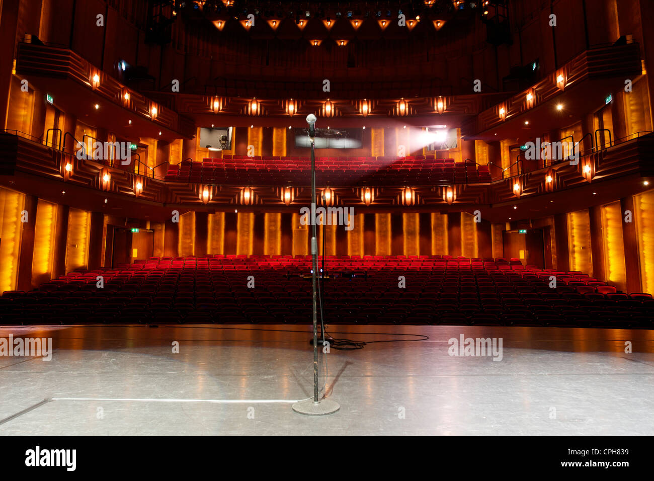 View From Stage Of Empty Auditorium Theatre Stock Photo