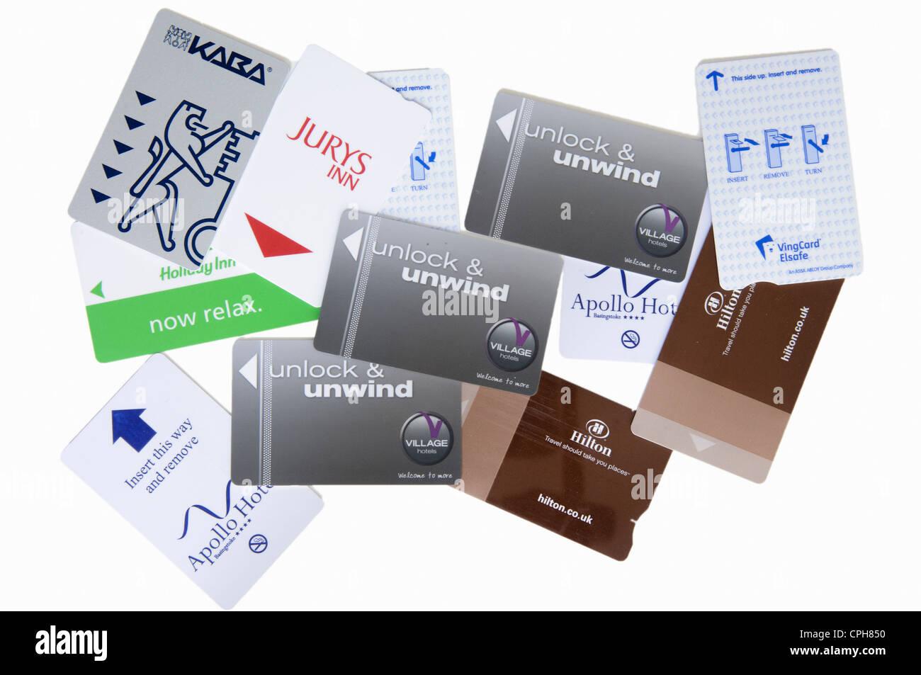 Selection of hotel keycards - Stock Image