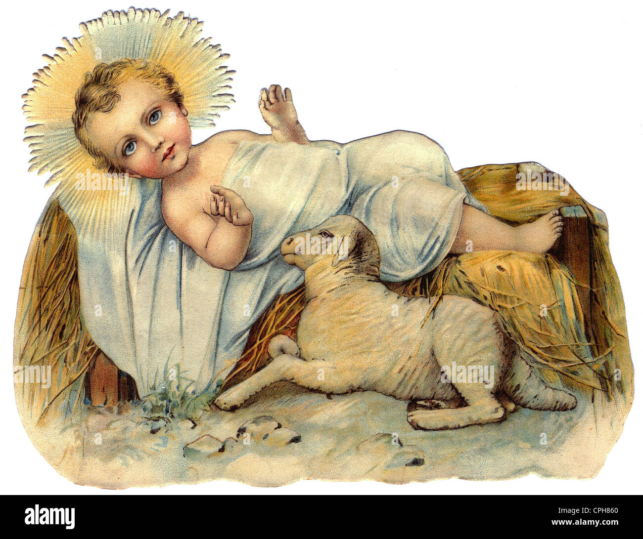 Christmas, the infant Jesus, the infant Jesus lying on straw, religious portrayal, Germany, circa 1890, Additional - Stock Image