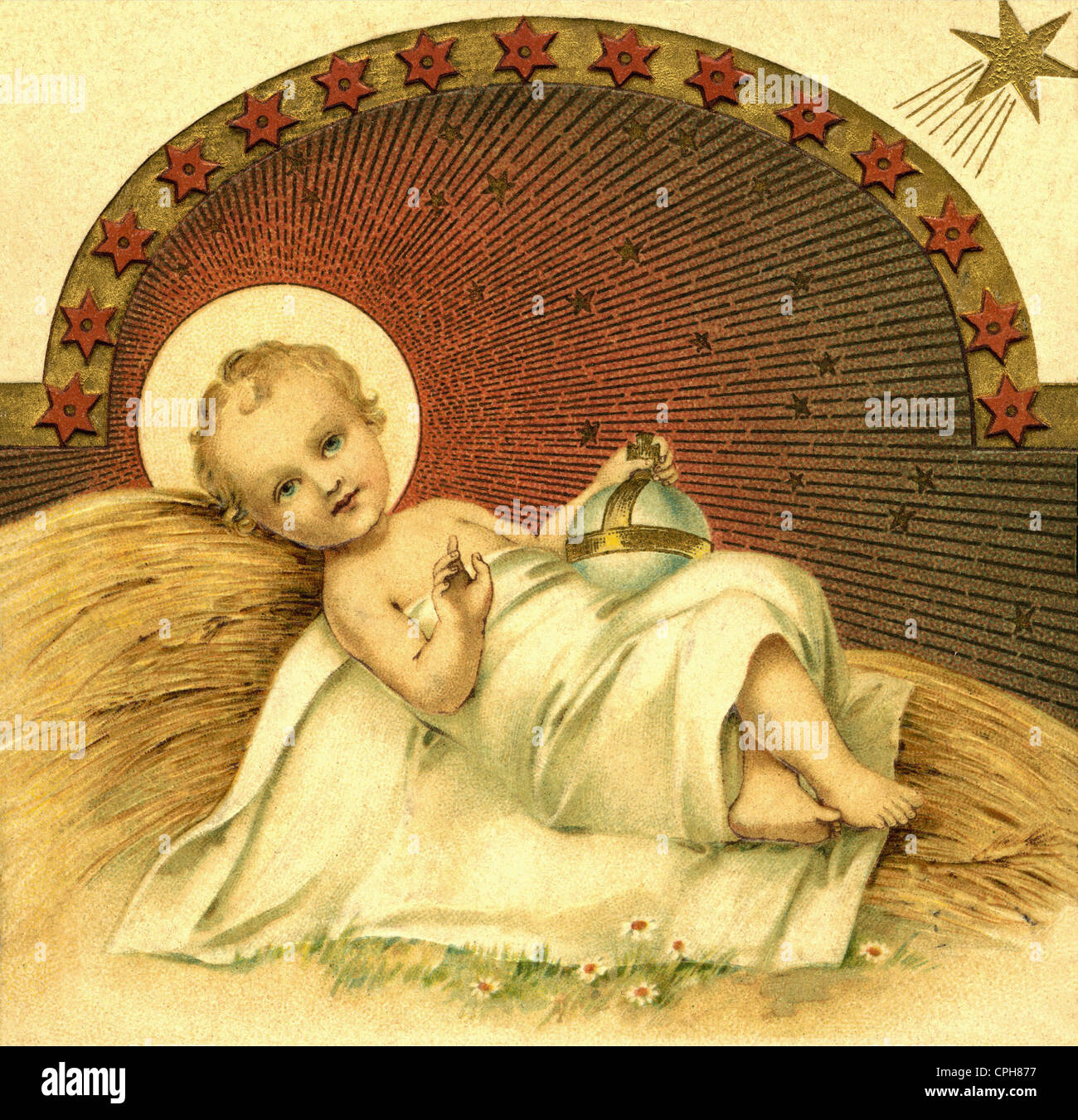 Christmas, The Nativity, the infant Jesus lying on straw, religious portrayal, Netherlands, 1910, Additional-Rights - Stock Image