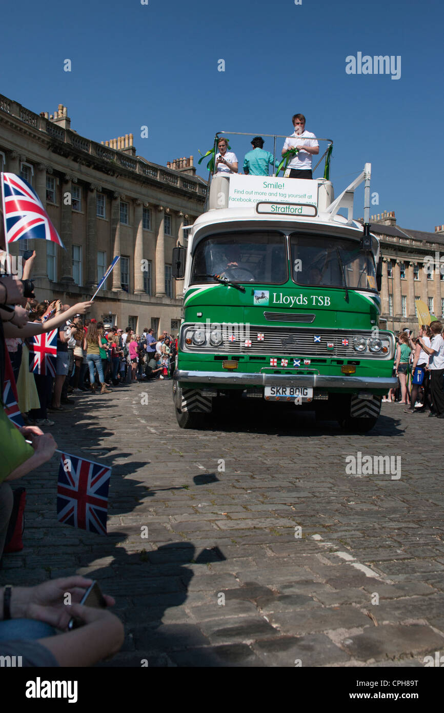 A Lloyds TSB sponsorship bus arrives in Bath's Royal Crescent ahead of the arrival of the Olympic torch relay - Stock Image