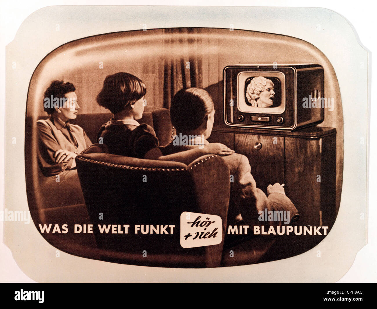 broadcast, television, family with television set by Blaupunkt, tabletop TV set V 53, one the first German postwar - Stock Image