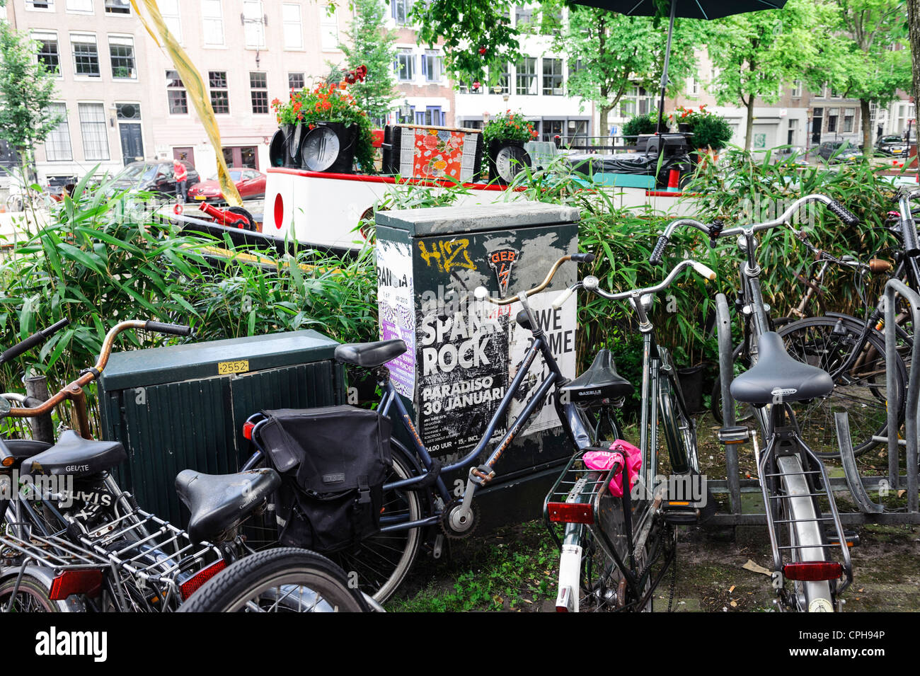 Bikes on the streets of Amsterdam, Netherlands - Stock Image