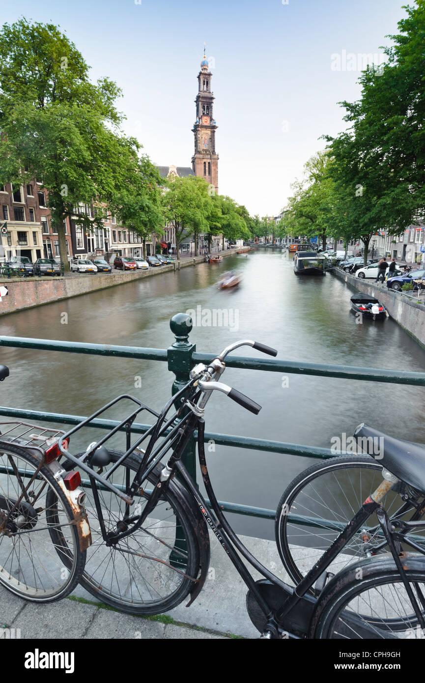 Westerkerk Church Jordaan Quarter, Amsterdam, Netherlands - Stock Image