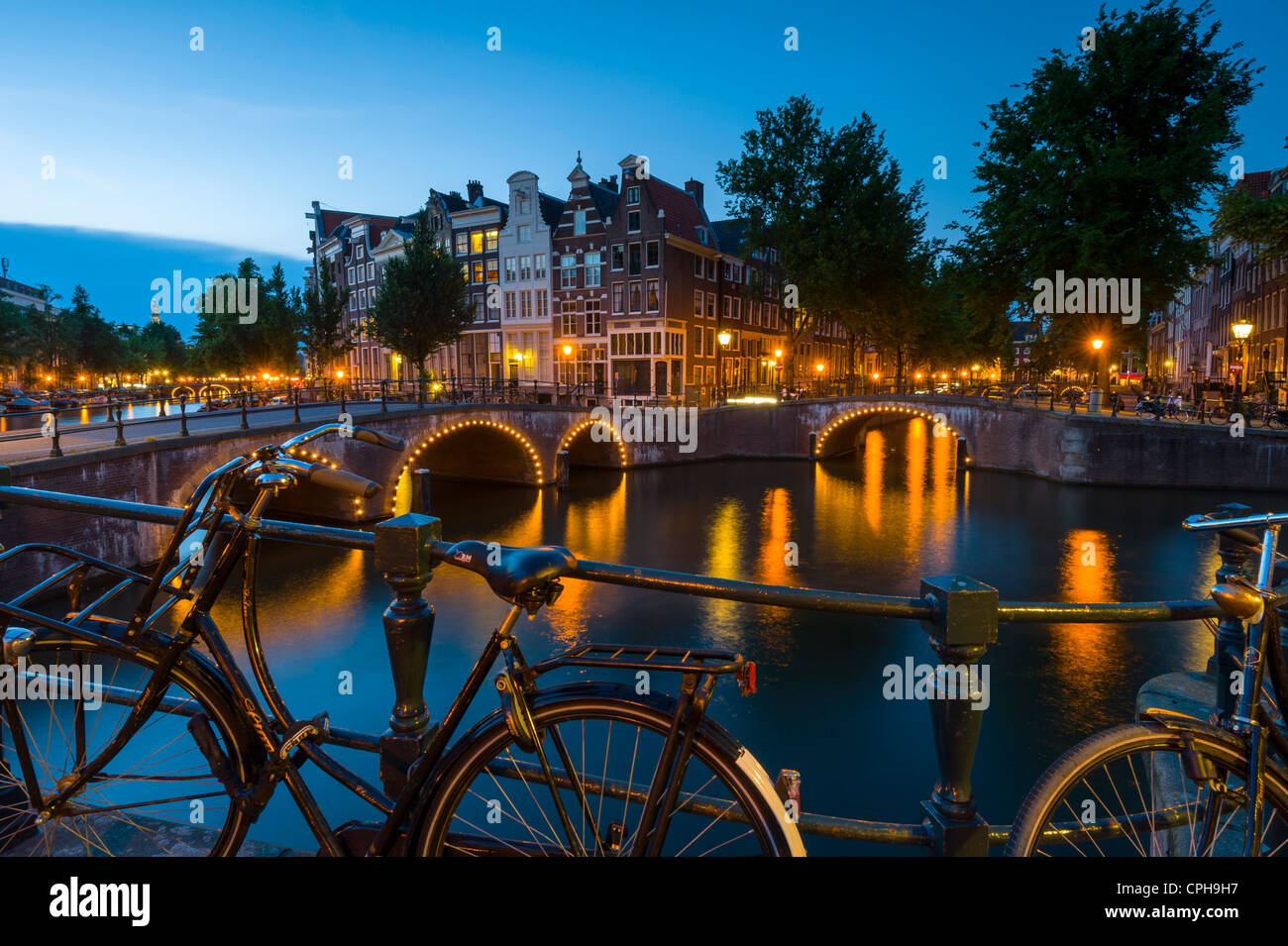 Kaizersgracht at dusk Amsterdam, Netherlands, Holland - Stock Image