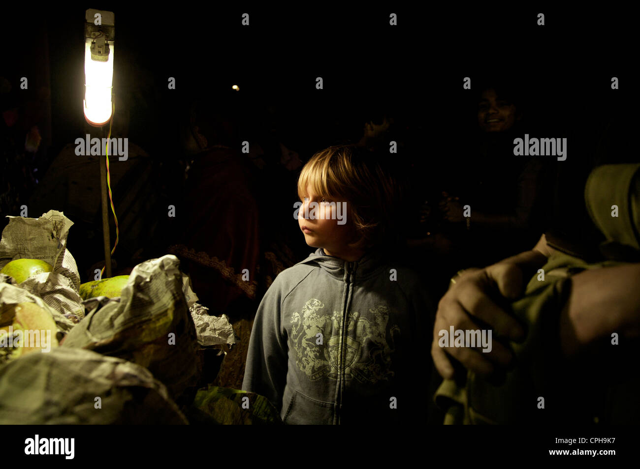 European boy on asian nightmarket - Stock Image