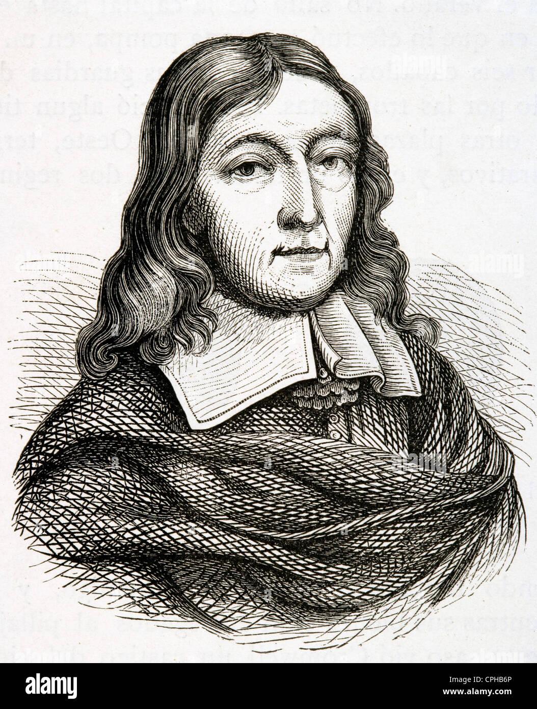 John Milton (1608-1674). British poet. Engraving. 19th century. - Stock Image