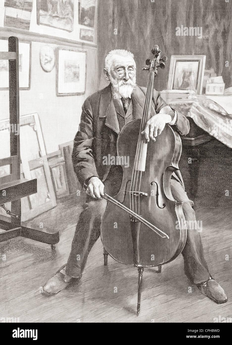 Henri-Joseph Harpignies, 1819 – 1916. French landscape painter. From L'Illustration published 1897. - Stock Image