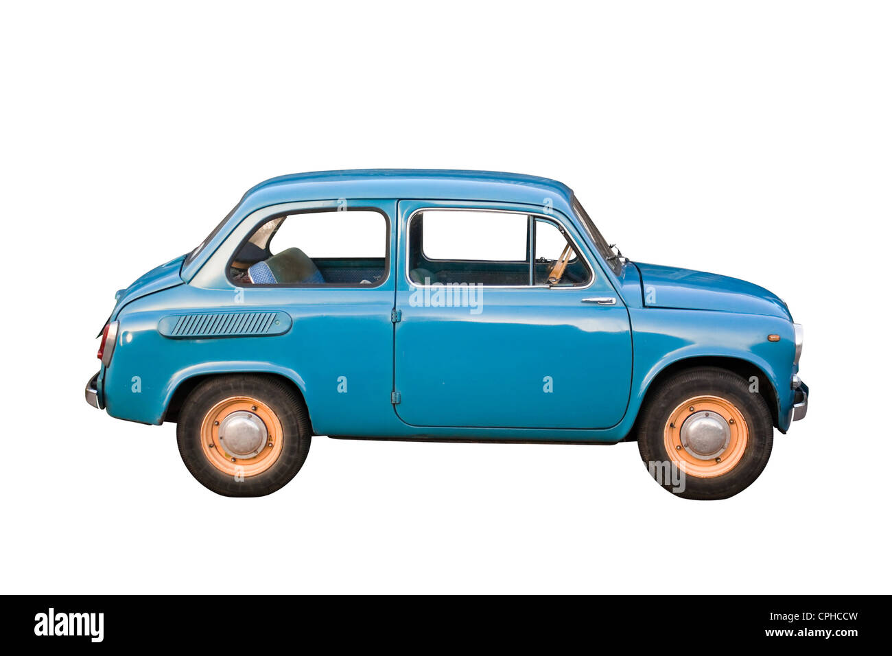 Blue subcompact Soviet old-timer car isolated on white background - Stock Image