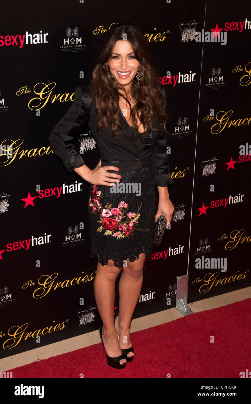 Sarah Shahi arrives at the Gracie Awards on May 21, 2012 at the Beverly Hilton Hotel in Beverly Hills, California. - Stock Image