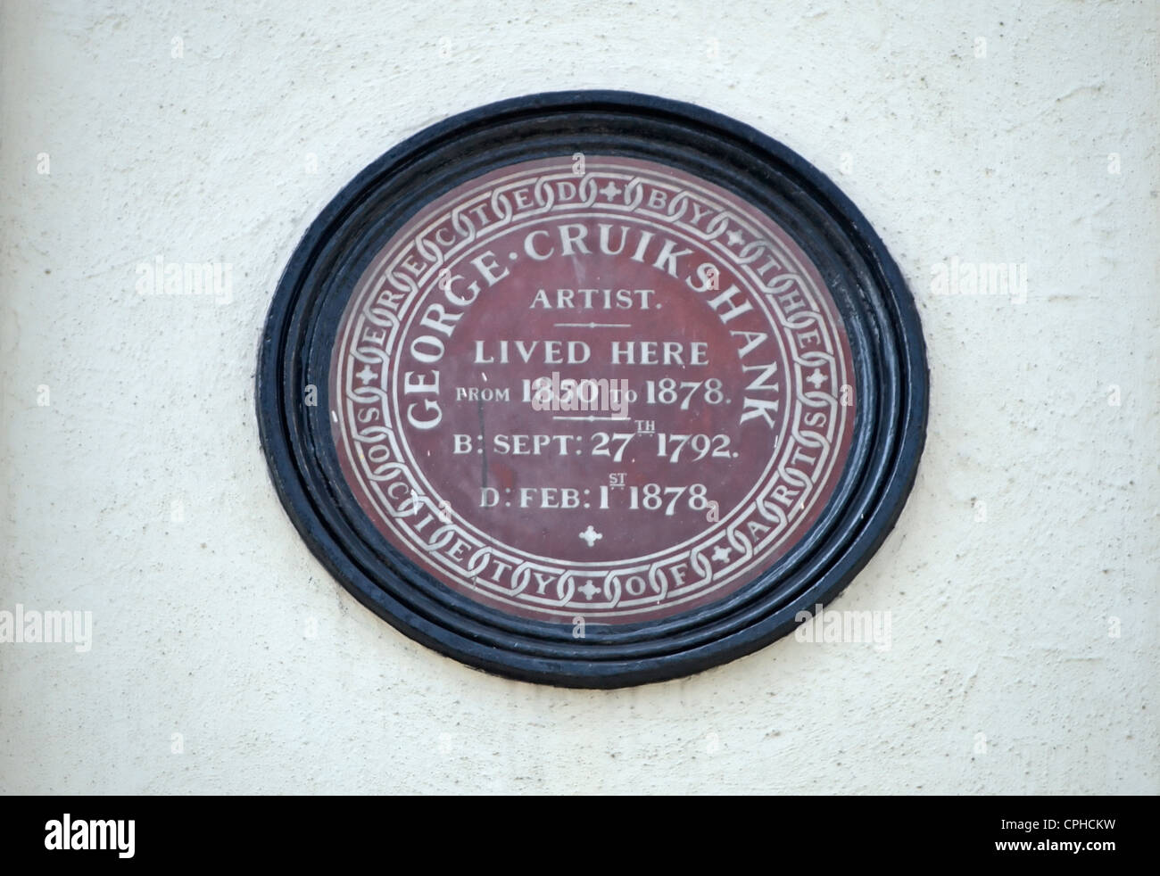 society of arts plaque marking a home of artist george cruikshank, camden,  london, england - Stock Image