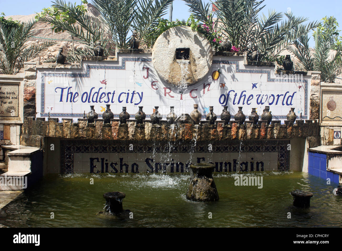 City of Jericho  the oldest city of the world .  Elisha Spring fountain with this message - Stock Image