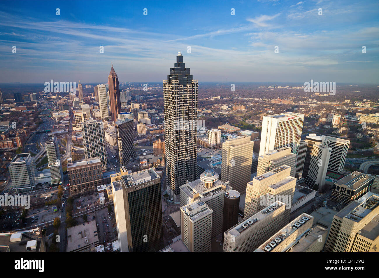 USA, United States, America, Georgia, Atlanta, architecture, downtown, buildings, modern, new, open, skyline, city, - Stock Image