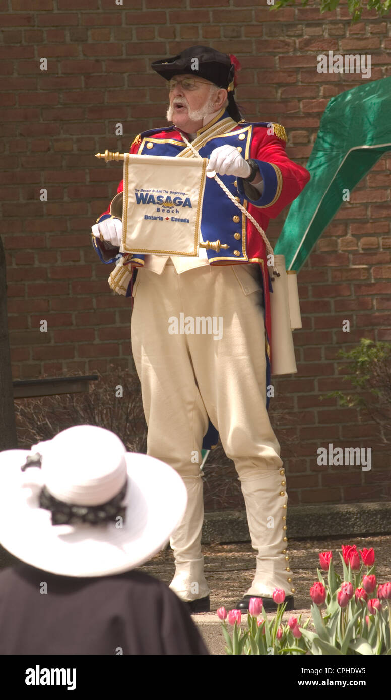 Town Crier Championship competition at Tulip Time, Holland Michigan - Stock Image