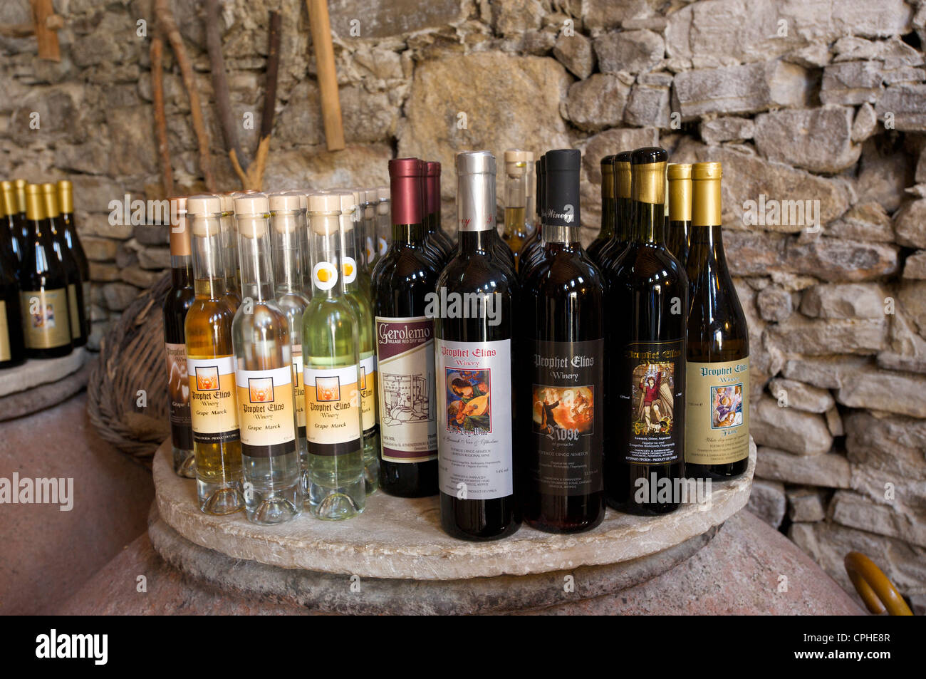 South Cyprus, Cyprus, Europe, Greek, Omodos, Troodos, wine, wine store, wine sales, business, trade, shops, shopping, - Stock Image