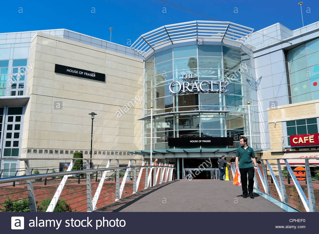 Entrance to the Oracle shopping centre in Reading, Berkshire, UK. - Stock Image