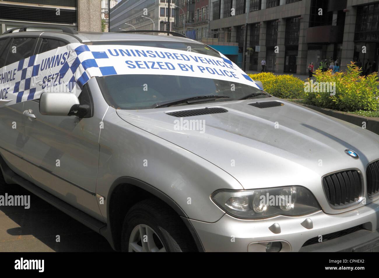 Seized, uninsured vehicle, London, Uk - Stock Image