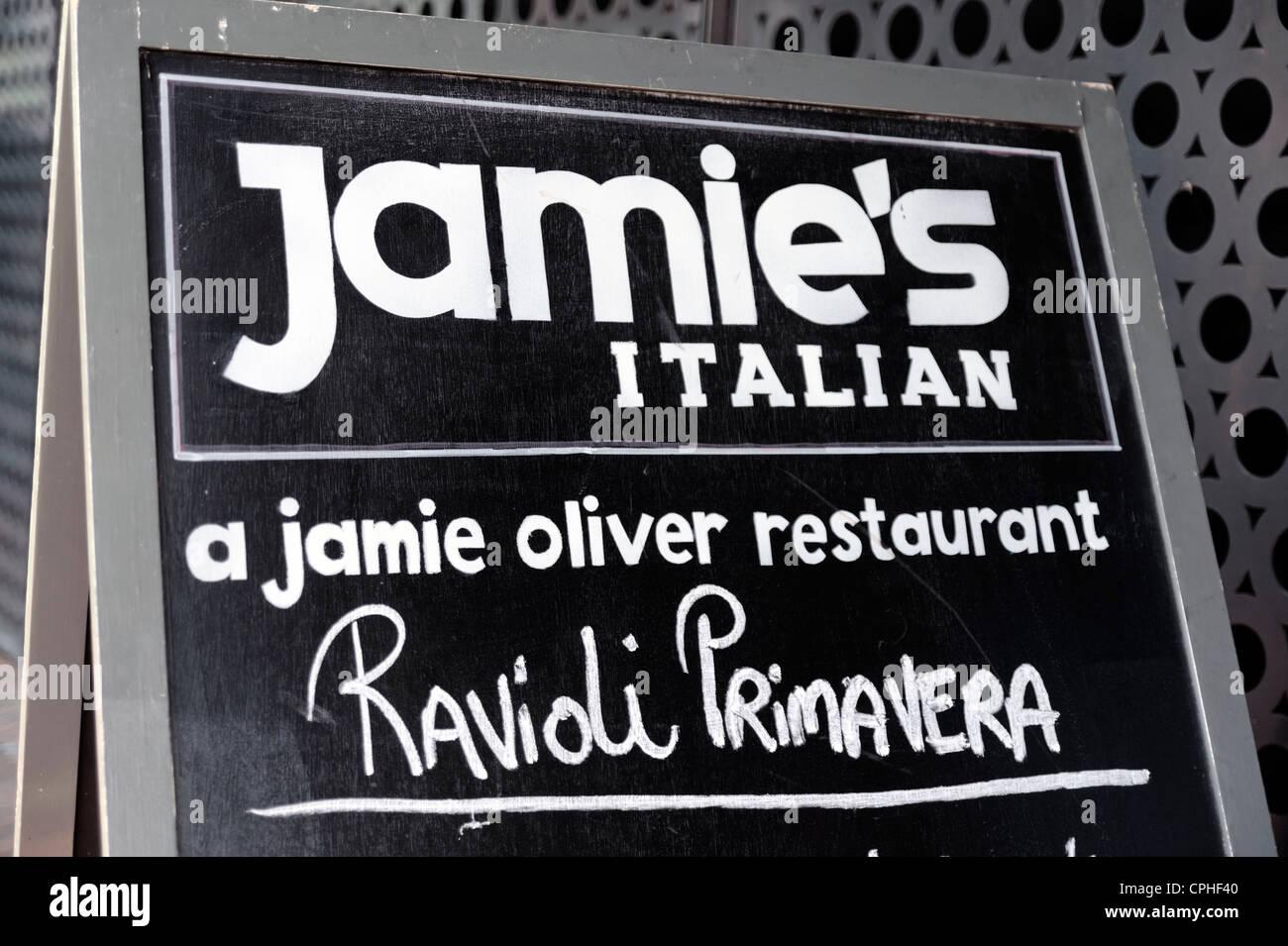 Jamie's Italian sign in Reading, Berkshire, UK. Jamie Oliver restaurant. - Stock Image