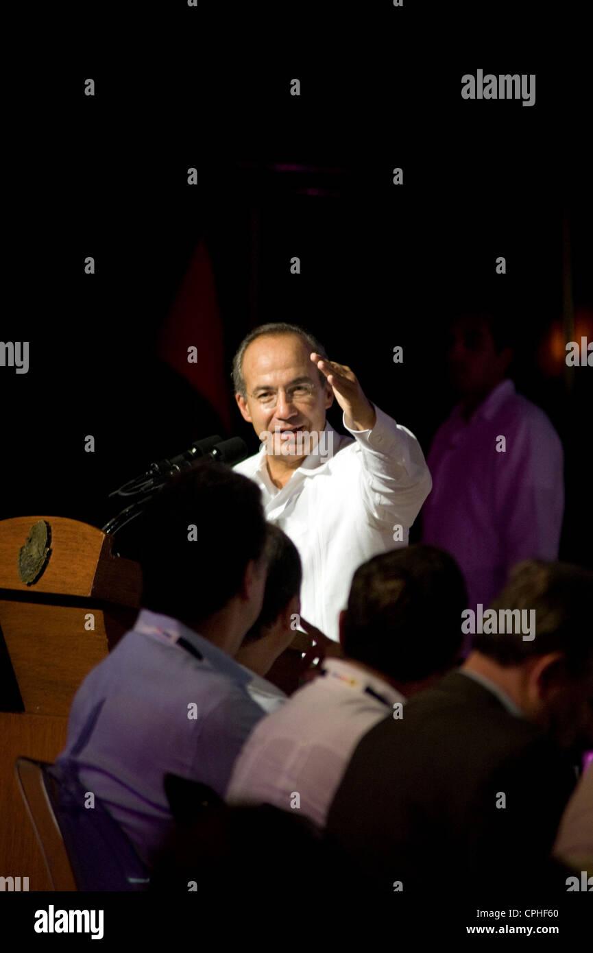President Felipe Calderon  addressing crowd at World Travel Tourism Council the Americas Summit at the Riviera Maya - Stock Image