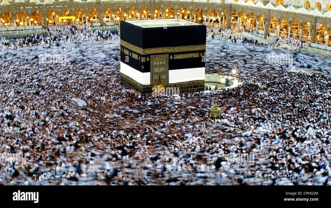 Hajj pilgrimage to Mecca, Kaaba Saudi Arabia - Stock Image