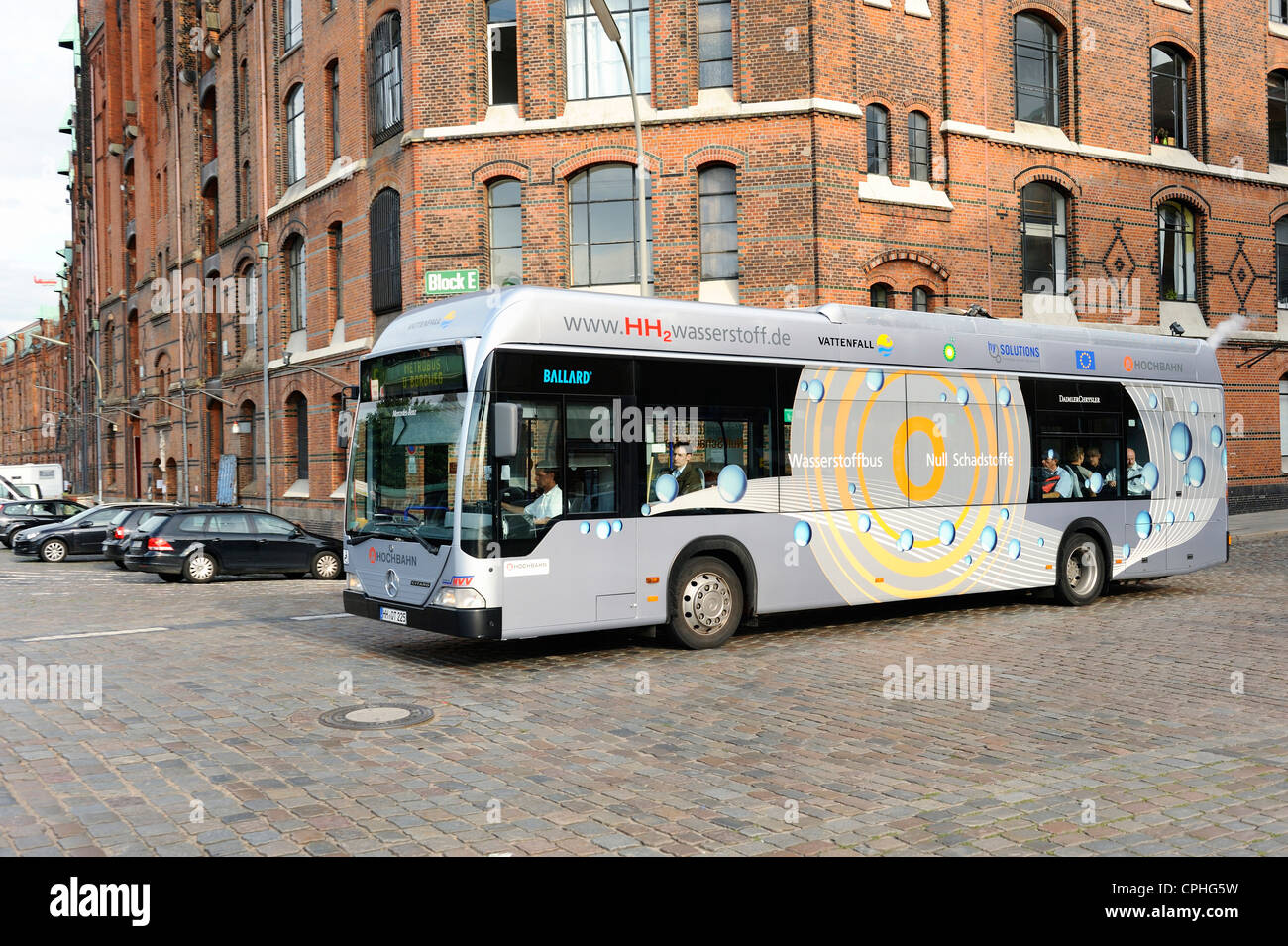 Hydrogen, fuel, propellant, bus, means of transportation, Hamburg, Germany, alternative, fuel, H, ., H2, 0, no, - Stock Image