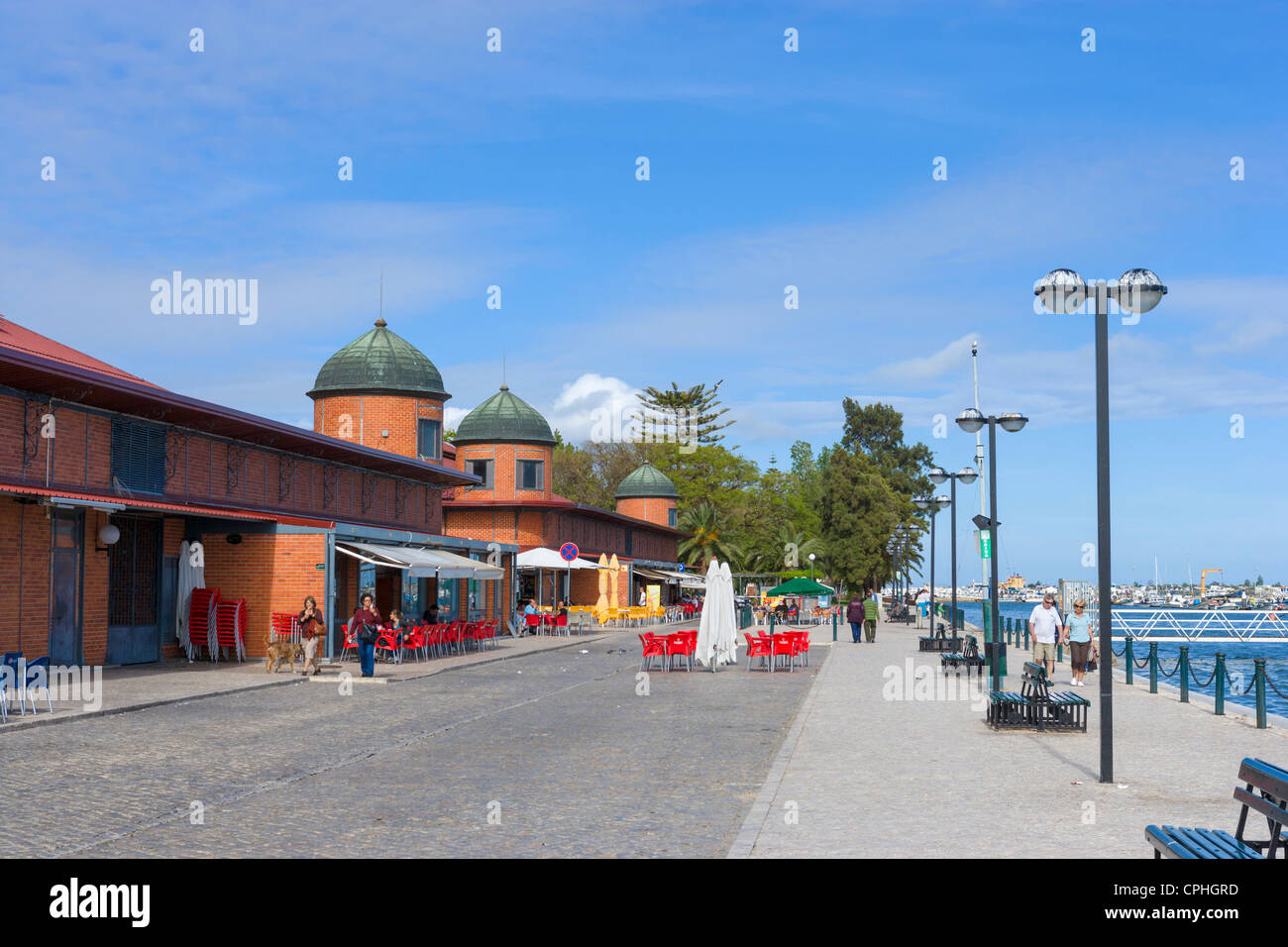Market (Mercado) on the seafront, Olhao, Algarve, Portugal - Stock Image